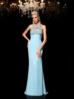 Sheath/Column Sheer Neck Beading Sleeveless Floor-Length Chiffon Dresses