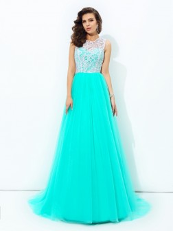 A-line/Princess Scoop Lace Sleeveless Sweep/Brush Train Net Dresses