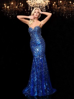Trumpet/Mermaid Sweetheart Sequin Sleeveless Court Train Sequins Dresses