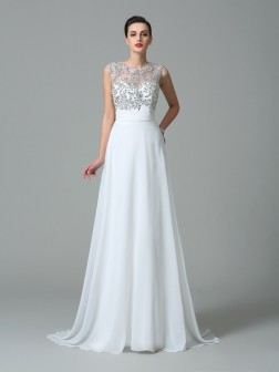 A-Line/Princess Jewel Beading Sleeveless Sweep/Brush Train Chiffon Dresses