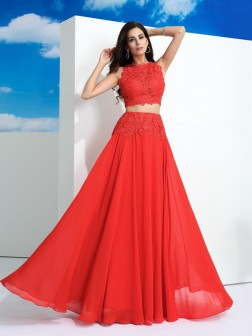 A-Line/Princess Scoop Lace Sleeveless Floor-Length Chiffon Dresses