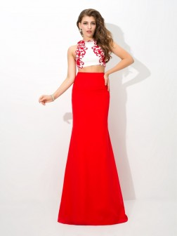 Sheath/Column High Neck Applique Sleeveless Floor-Length Chiffon Dresses