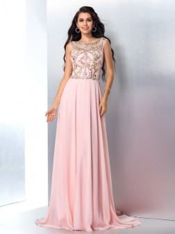 A-Line/Princess Scoop Beading Sleeveless Sweep/Brush Train Chiffon Dresses