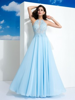 A-Line/Princess Spaghetti Straps Applique Sleeveless Floor-Length Chiffon Dresses