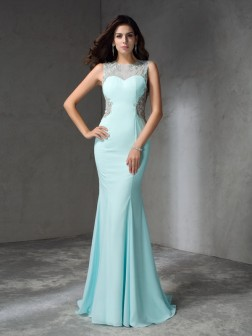 Trumpet/Mermaid Jewel Beading Sleeveless Sweep/Brush Train Chiffon Dresses