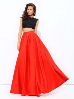 A-line/Princess Scoop Lace Sleeveless Floor-Length Satin Dresses
