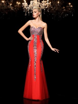 Sheath/Column Sweetheart Rhinestone Sleeveless Floor-Length Net Dresses