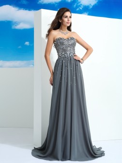 A-Line/Princess Sweetheart Beading Sleeveless Sweep/Brush Train Chiffon Dresses