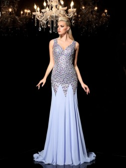 Sheath/Column Straps Rhinestone Sleeveless Sweep/Brush Train Chiffon Dresses