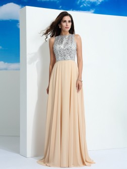 A-Line/Princess Scoop Paillette Sleeveless Sweep/Brush Train Chiffon Dresses