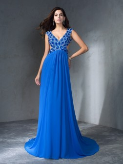A-Line/Princess V-neck Sequin Sleeveless Sweep/Brush Train Chiffon Dresses