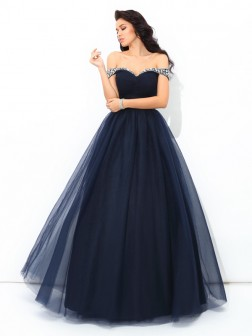 Ball Gown Off-the-Shoulder Beading Sleeveless Floor-Length Net Quinceanera Dresses