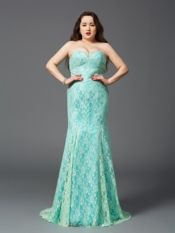 Sheath/Column Strapless Lace Sleeveless Court Train Satin Dresses