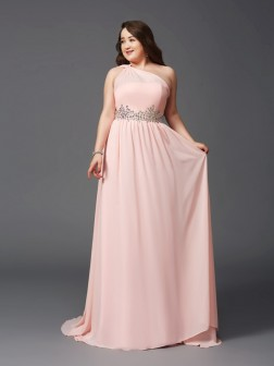 A-Line/Princess One-Shoulder Rhinestone Sleeveless Sweep/Brush Train Chiffon Dresses