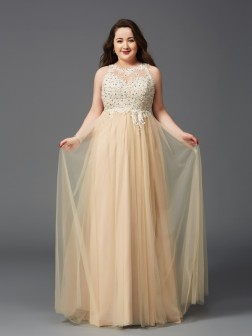 A-Line/Princess Scoop Rhinestone Sleeveless Floor-Length Net Dresses
