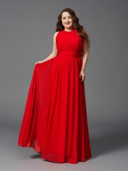 A-Line/Princess Jewel Ruched Sleeveless Floor-Length Chiffon Dresses