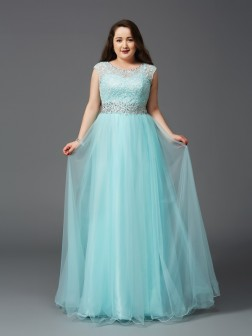 A-Line/Princess Scoop Rhinestone Sleeveless Floor-Length Elastic Woven Satin Dresses