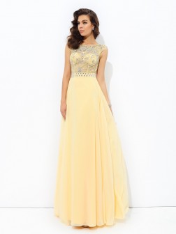 A-line/Princess Bateau Beading Sleeveless Floor-Length Chiffon Dresses