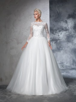 Ball Gown Bateau Lace Long Sleeves Sweep/Brush Train Net Wedding Dresses
