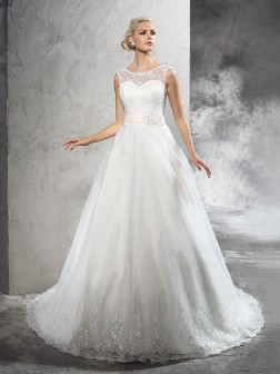 Ball Gown Sheer Neck Sash/Ribbon/Belt Sleeveless Court Train Net Wedding Dresses