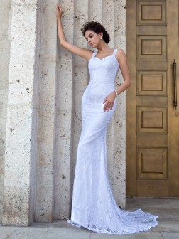 Sheath/Column Straps Lace Sleeveless Court Train Lace Wedding Dresses