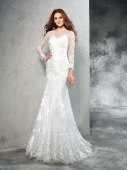 Sheath/Column Sheer Neck Lace Long Sleeves Sweep/Brush Train Net Wedding Dresses