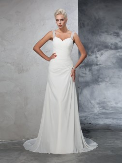 Trumpet/Mermaid Straps Ruched Sleeveless Court Train Chiffon Wedding Dresses