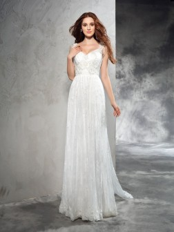A-Line/Princess Straps Lace Sleeveless Court Train Lace Wedding Dresses