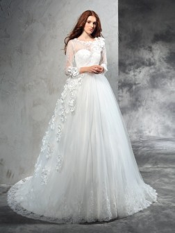 Ball Gown Sheer Neck Hand-Made Flower Long Sleeves Court Train Net Wedding Dresses
