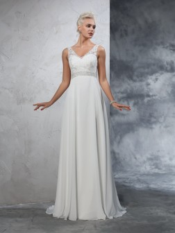 A-Line/Princess V-neck Beading Sleeveless Court Train Chiffon Wedding Dresses