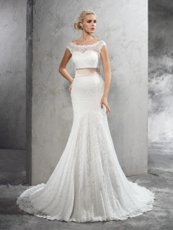 Sheath/Column Sheer Neck Sash/Ribbon/Belt Sleeveless Court Train Lace Wedding Dresses