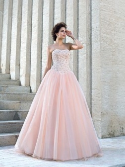 Ball Gown Strapless Beading Sleeveless Floor-Length Satin Wedding Dresses