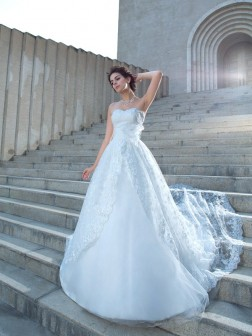 Ball Gown Sweetheart Lace Sleeveless Chapel Train Lace Wedding Dresses