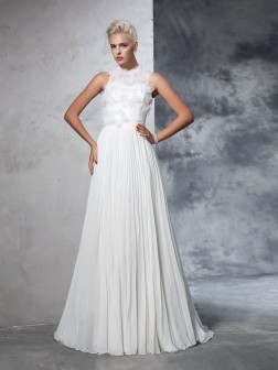 A-Line/Princess High Neck Pleats Sleeveless Court Train Chiffon Wedding Dresses