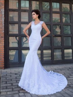 Trumpet/Mermaid V-neck Applique Sleeveless Chapel Train Satin Wedding Dresses
