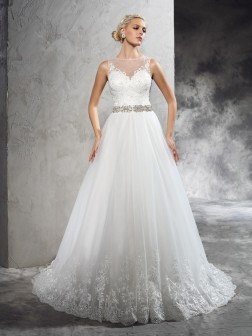 A-Line/Princess Sheer Neck Beading Sleeveless Court Train Net Wedding Dresses