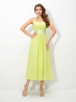 A-Line/Princess Halter Pleats Sleeveless Ankle-Length Chiffon Bridesmaid Dresses