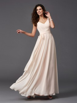 A-Line/Princess Straps Sash/Ribbon/Belt Sleeveless Floor-Length Chiffon Bridesmaid Dresses