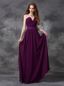 A-line/Princess Sweetheart Ruched Sleeveless Floor-length Chiffon Bridesmaid Dresses