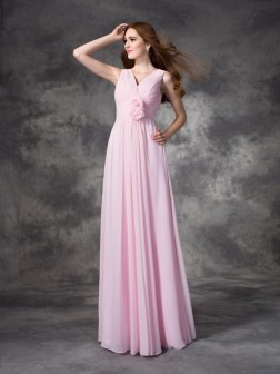 A-line/Princess V-neck Hand-Made Flower Sleeveless Floor-length Chiffon Bridesmaid Dresses