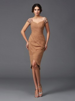Sheath/Column Sweetheart Applique Short Sleeves Asymmetrical Chiffon Cocktail Dresses