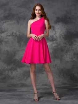 A-line/Princess One-Shoulder Hand-Made Flower Sleeveless Short/Mini Chiffon Dresses