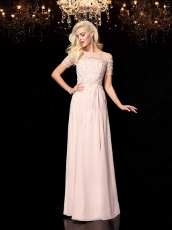 A-Line/Princess Bateau Beading Short Sleeves Floor-Length Chiffon Dresses