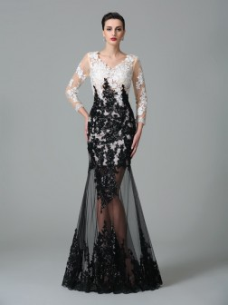 Sheath/Column V-neck Lace 3/4 Sleeves Floor-Length Net Dresses