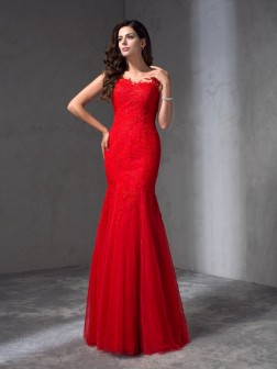 Sheath/Column Scoop Applique Sleeveless Floor-Length Lace Dresses
