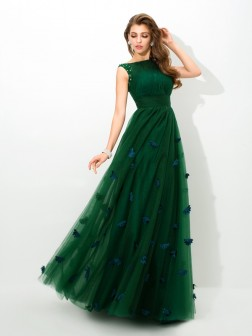 A-Line/Princess Sheer Neck Beading Sleeveless Floor-Length Net Dresses