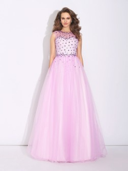 A-Line/Princess Jewel Rhinestone Sleeveless Floor-Length Net Dresses