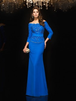 Sheath/Column Off-the-Shoulder Beading 3/4 Sleeves Floor-Length Chiffon Dresses