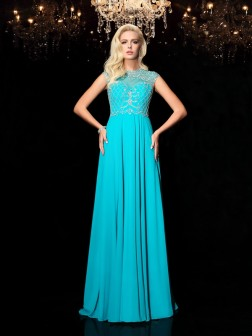 A-Line/Princess Jewel Lace Short Sleeves Floor-Length Chiffon Dresses