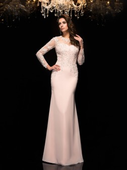 Sheath/Column Sheer Neck Applique 3/4 Sleeves Floor-Length Chiffon Dresses